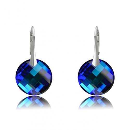 Cercei Argint 925, Cercei SWAROVSKI Crystals Twist Electric Blue + CADOU Laveta profesionala pentru curatat bijuteriile din argint