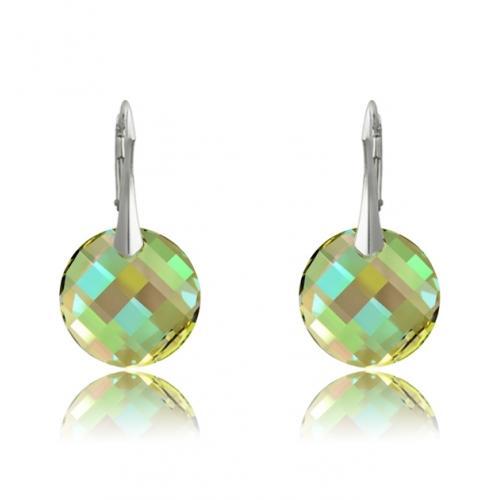 Cercei Argint 925, Cercei SWAROVSKI Crystals Twist Luminous Green + CADOU Laveta profesionala pentru curatat bijuteriile din argint