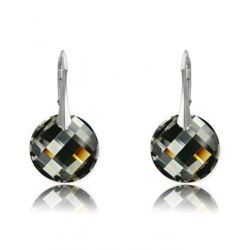 Cercei Argint 925, Cercei SWAROVSKI Crystals Twist Night + CADOU Laveta profesionala pentru curatat bijuteriile din argint