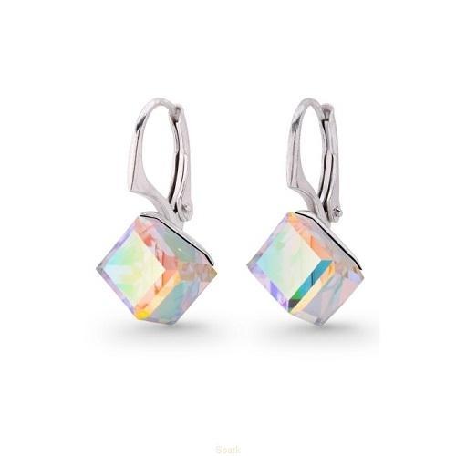 Cercei Argint 925, Cercei SWAROVSKI Cube Aurore Boreale + CADOU Laveta profesionala pentru curatat bijuteriile din argint