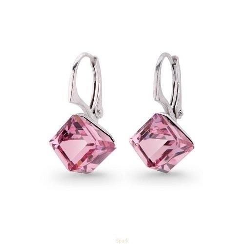 Cercei Argint 925, Cercei SWAROVSKI Cube Rose + CADOU Laveta profesionala pentru curatat bijuteriile din argint