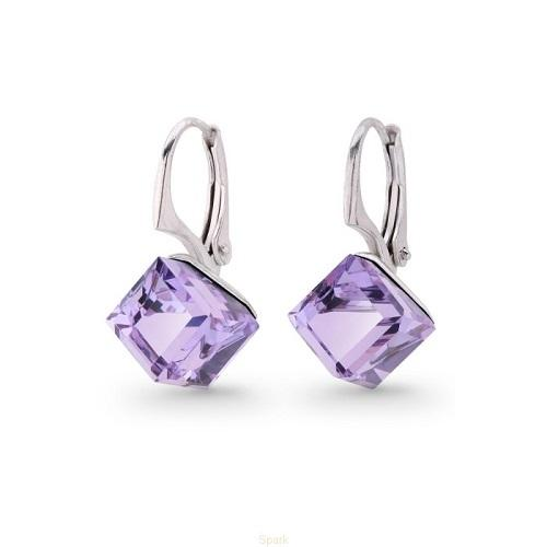 Cercei Argint 925, Cercei SWAROVSKI Cube Violet + CADOU Laveta profesionala pentru curatat bijuteriile din argint