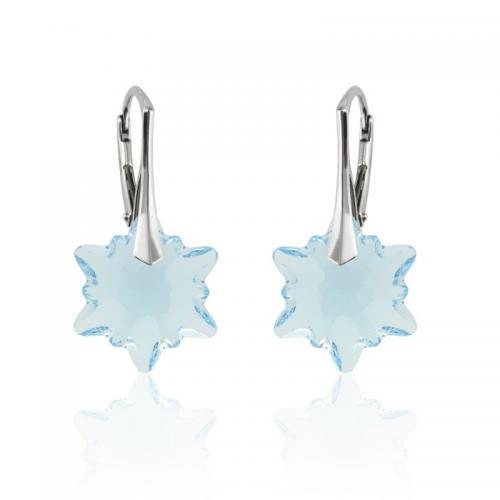 Cercei Argint 925, Cercei SWAROVSKI Edelweiss Aquamarine + CADOU Laveta profesionala pentru curatat bijuteriile din argint + Cutie Cadou
