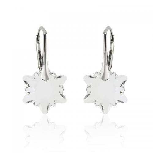 Cercei Argint 925, Cercei SWAROVSKI Edelweiss Crystal Clear + CADOU Laveta profesionala pentru curatat bijuteriile din argint + Cutie Cadou