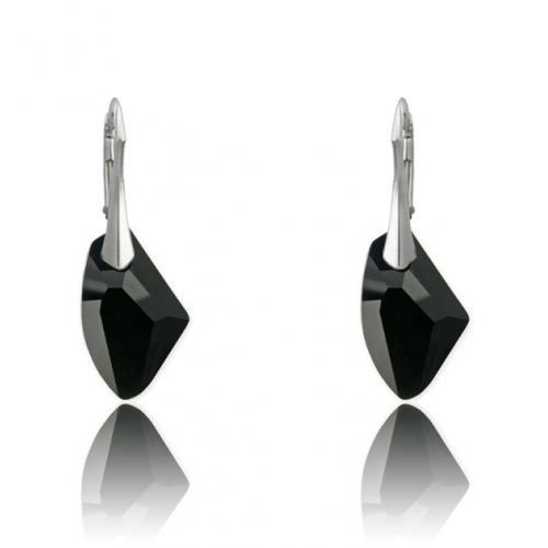 Cercei Argint 925, Cercei SWAROVSKI Galactic Black + CADOU Laveta profesionala pentru curatat bijuteriile din argint + Cutie Cadou