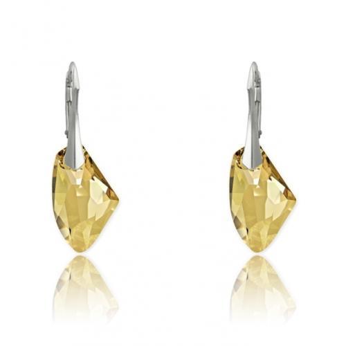 Cercei Argint 925, Cercei SWAROVSKI Galactic Gold + CADOU Laveta profesionala pentru curatat bijuteriile din argint + Cutie Cadou