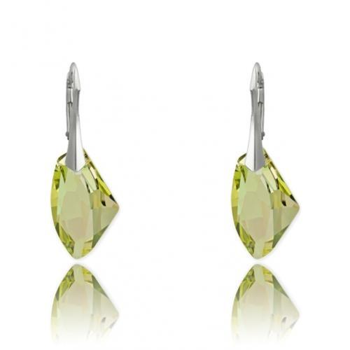 Cercei Argint 925, Cercei SWAROVSKI Galactic Luminous Green + CADOU Laveta profesionala pentru curatat bijuteriile din argint + Cutie Cadou