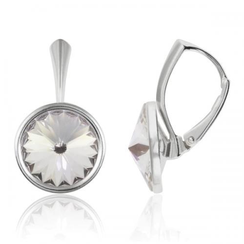 Cercei Argint 925, Cercei Swarovski Grace (cu bordura) Crystal + CADOU Laveta profesionala pentru curatat bijuteriile din argint + Cutie Cadou