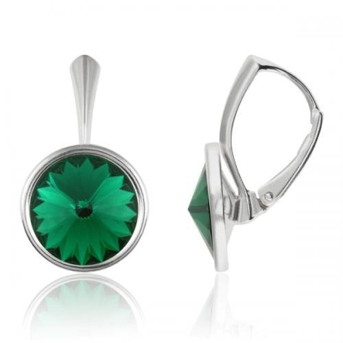 Cercei Argint 925, Cercei Swarovski Grace (cu bordura) Emerald + CADOU Laveta profesionala pentru curatat bijuteriile din argint + Cutie Cadou