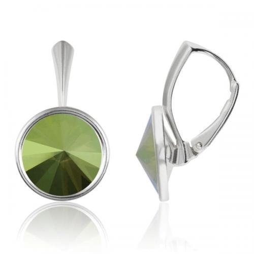 Cercei Argint 925, Cercei Swarovski Grace (cu bordura) Iridescent Green + CADOU Laveta profesionala pentru curatat bijuteriile din argint + Cutie Cadou