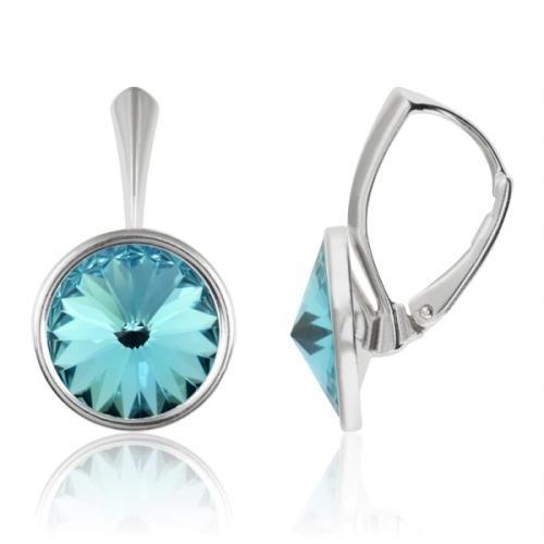 Cercei Argint 925, Cercei Swarovski Grace (cu bordura) Light Turquoise + CADOU Laveta profesionala pentru curatat bijuteriile din argint + Cutie Cadou