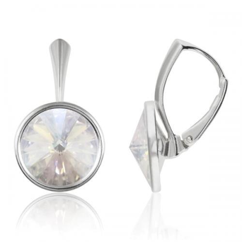 Cercei Argint 925, Cercei Swarovski Grace (cu bordura) Moonlight + CADOU Laveta profesionala pentru curatat bijuteriile din argint + Cutie Cadou