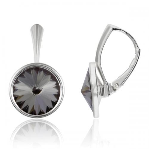 Cercei Argint 925, Cercei Swarovski Grace (cu bordura) Night + CADOU Laveta profesionala pentru curatat bijuteriile din argint + Cutie Cadou