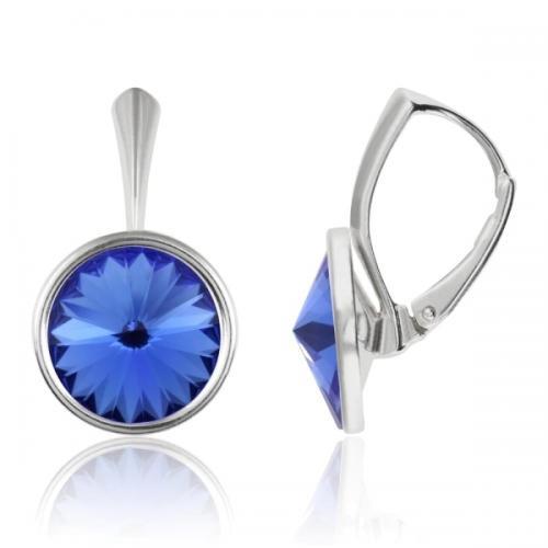 Cercei Argint 925, Cercei Swarovski Grace (cu bordura) Sapphire + CADOU Laveta profesionala pentru curatat bijuteriile din argint + Cutie Cadou
