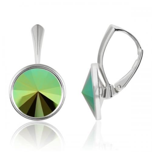 Cercei Argint 925, Cercei Swarovski Grace (cu bordura) Scarabaeus Green + CADOU Laveta profesionala pentru curatat bijuteriile din argint + Cutie Cadou