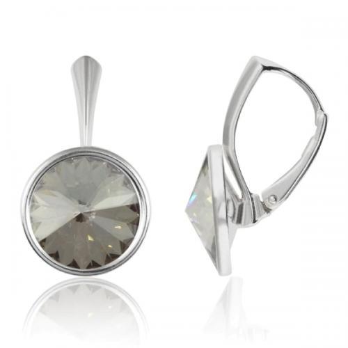 Cercei Argint 925, Cercei Swarovski Grace (cu bordura) Silver Shade + CADOU Laveta profesionala pentru curatat bijuteriile din argint + Cutie Cadou