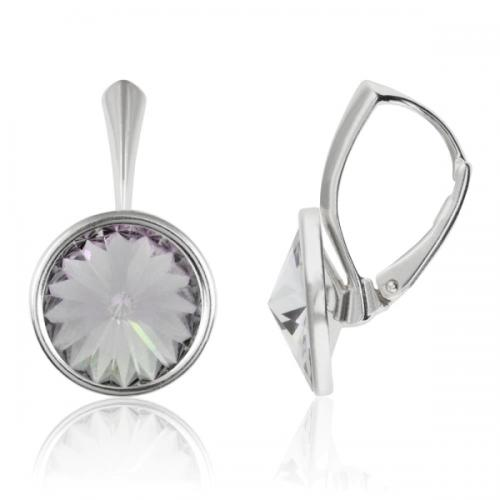 Cercei Argint 925, Cercei Swarovski Grace (cu bordura) Smoky Mauve + CADOU Laveta profesionala pentru curatat bijuteriile din argint + Cutie Cadou