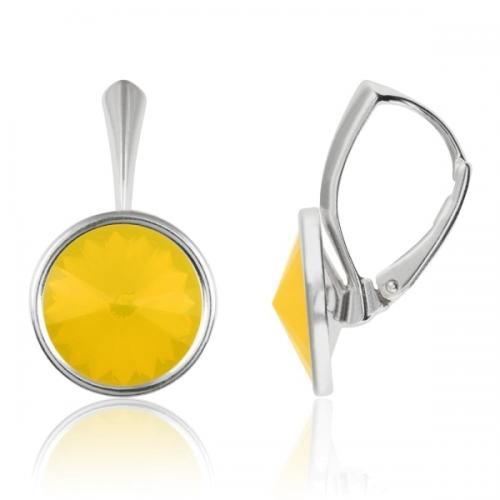 Cercei Argint 925, Cercei Swarovski Grace (cu bordura) Yellow Opal + CADOU Laveta profesionala pentru curatat bijuteriile din argint + Cutie Cadou