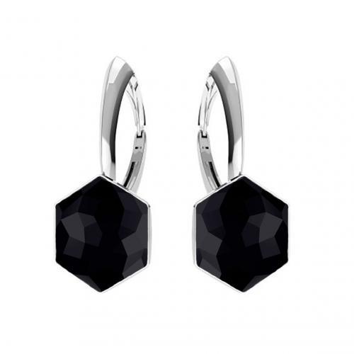 Cercei Argint 925, Cercei SWAROVSKI Hexagon Black 10mm + CADOU Laveta profesionala pentru curatat bijuterii din argint