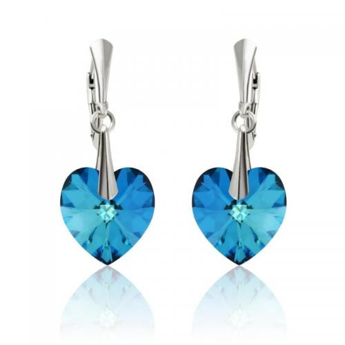 Cercei Argint 925, Cercei SWAROVSKI Passion Electric Blue + CADOU Laveta profesionala pentru curatat bijuteriile din argint + Cutie Cadou