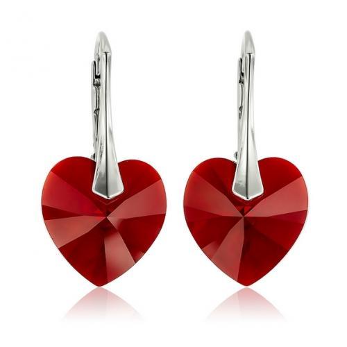 Cercei Argint 925, Cercei SWAROVSKI Red Heart Crystals + CADOU Laveta profesionala pentru curatat bijuteriile din argint