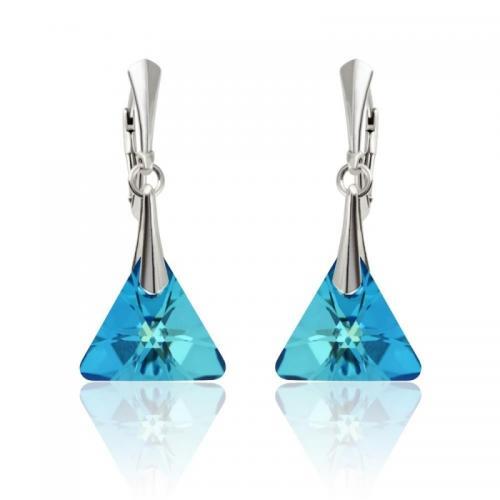 Cercei Argint 925, Cercei SWAROVSKI Triangle Electric Blue + CADOU Laveta profesionala pentru curatat bijuteriile din argint + Cutie Cadou