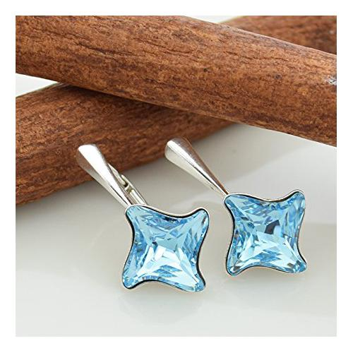 Cercei Argint 925, Cercei SWAROVSKI Twister Aquamarine + CADOU Laveta profesionala pentru curatat bijuteriile din argint