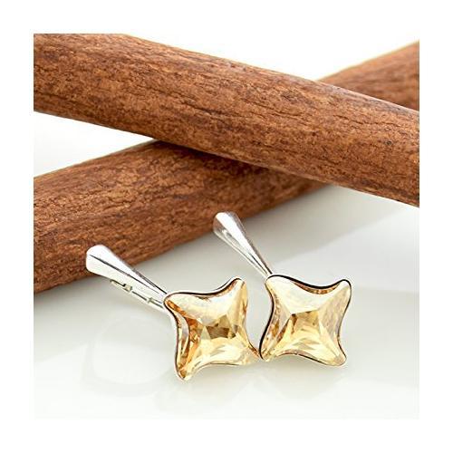 Cercei Argint 925, Cercei SWAROVSKI Twister Gold + CADOU Laveta profesionala pentru curatat bijuteriile din argint