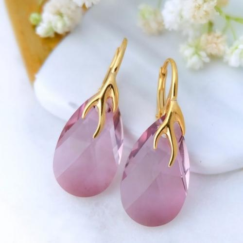 Cercei Argint 925 placati cu Aur 18k, Cercei SWAROVKSI Crystals Style (2) Antique Pink + CADOU Laveta profesionala pentru curatat bijuteriile din argint