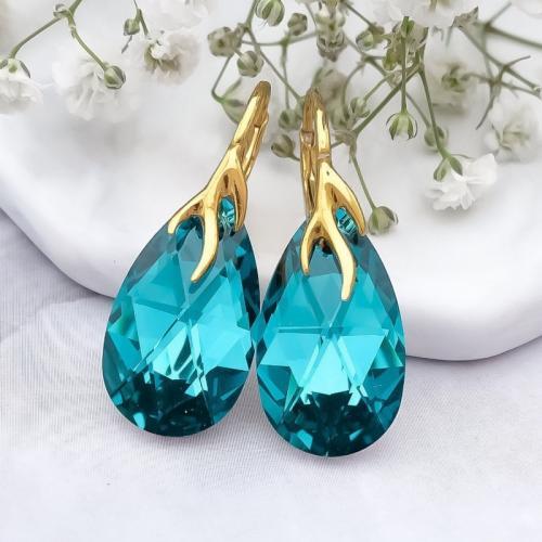 Cercei Argint 925 placati cu Aur 18k, Cercei SWAROVKSI Crystals Style (2) Blue Zircon + CADOU Laveta profesionala pentru curatat bijuteriile din argint