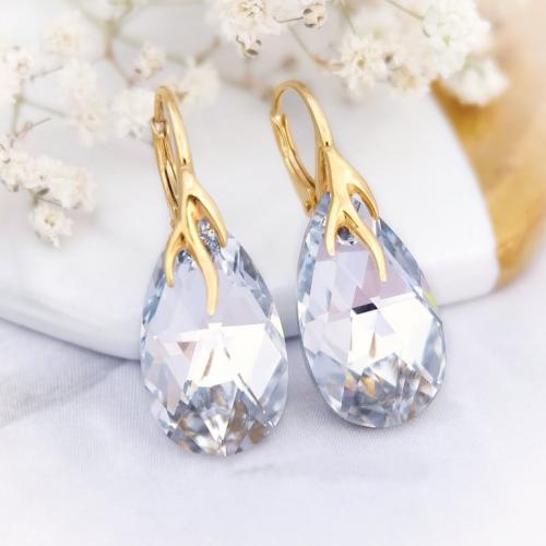 Cercei Argint 925 placati cu Aur 18k, Cercei SWAROVKSI Crystals Style (2) Crystal CAL + CADOU Laveta profesionala pentru curatat bijuteriile din argint