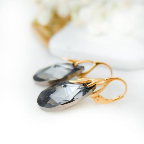 Cercei Argint 925 placati cu Aur 18k, Cercei SWAROVKSI Crystals Style (2) Night + CADOU Laveta profesionala pentru curatat bijuteriile din argint