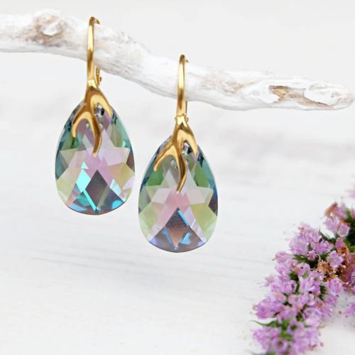 Cercei Argint 925 placati cu Aur 18k, Cercei SWAROVKSI Crystals Style (2) Paradise + CADOU Laveta profesionala pentru curatat bijuteriile din argint