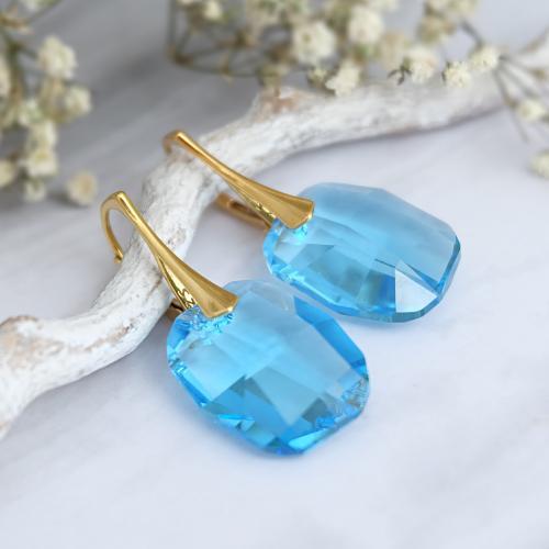 Cercei Argint 925 placati cu Aur 18k, Cercei SWAROVSKI Sensual Aquamarine + CADOU Laveta profesionala pentru curatat bijuteriile din argint