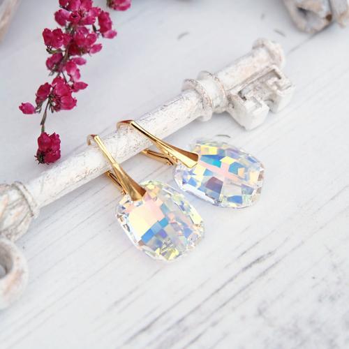 Cercei Argint 925 placati cu Aur 18k, Cercei SWAROVSKI Sensual Aurora Boreala + CADOU Laveta profesionala pentru curatat bijuteriile din argint