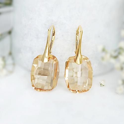 Cercei Argint 925 placati cu Aur 18k, Cercei SWAROVSKI Sensual Gold + CADOU Laveta profesionala pentru curatat bijuteriile din argint
