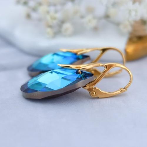 Cercei Argint 925 placati cu Aur 18k, Cercei SWAROVKSI Crystals Style (2) Electric Blue + CADOU Laveta profesionala pentru curatat bijuteriile din argint