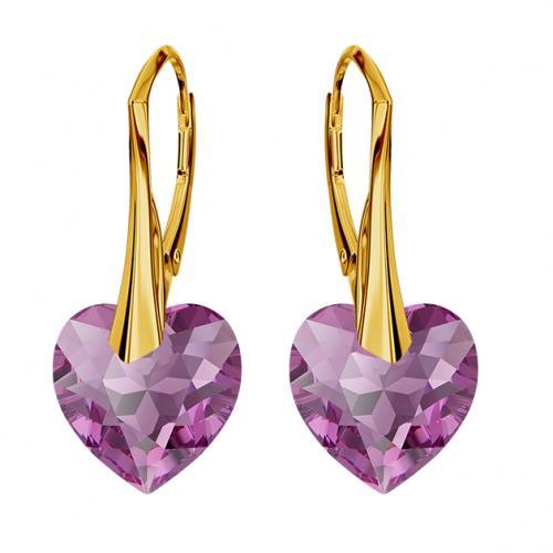 Cercei Argint 925 placati cu Aur 18k, Cerceri SWAROVKSI Crystals Heart Amethyst + CADOU Laveta profesionala pentru curatat bijuteriile din argint