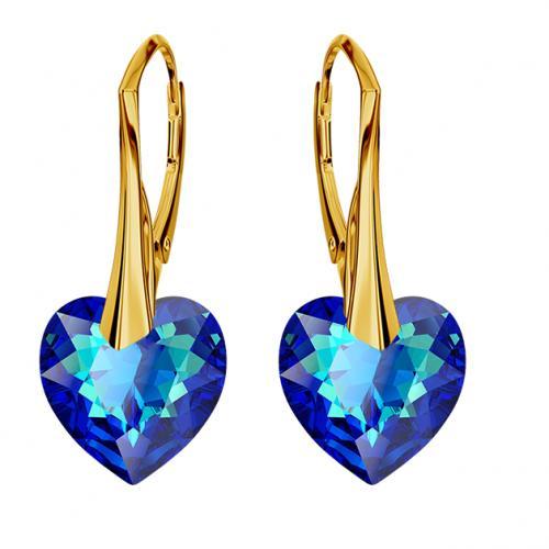 Cercei Argint 925 placati cu Aur 18k, Cerceri SWAROVKSI Crystals Heart Electric Blue + CADOU Laveta profesionala pentru curatat bijuteriile din argint