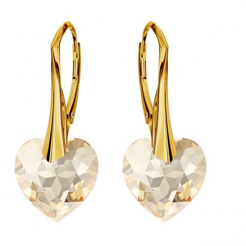 Cercei Argint 925 placati cu Aur 18k, Cerceri SWAROVKSI Crystals Heart Gold + CADOU Laveta profesionala pentru curatat bijuteriile din argint