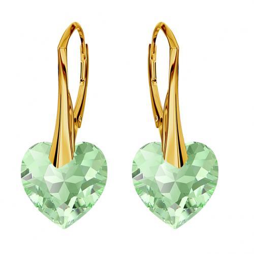 Cercei Argint 925 placati cu Aur 18k, Cerceri SWAROVKSI Crystals Heart Peridot + CADOU Laveta profesionala pentru curatat bijuteriile din argint
