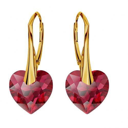 Cercei Argint 925 placati cu Aur 18k, Cerceri SWAROVKSI Crystals Heart Scarlet + CADOU Laveta profesionala pentru curatat bijuteriile din argint