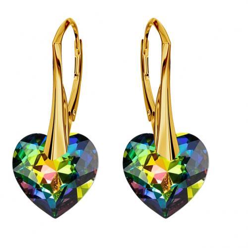 Cercei Argint 925 placati cu Aur 18k, Cerceri SWAROVKSI Crystals Heart Vitrail + CADOU Laveta profesionala pentru curatat bijuteriile din argint