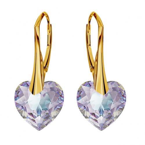 Cercei Argint 925 placati cu Aur 18k, Cerceri SWAROVKSI Crystals Heart Vitrail Light + CADOU Laveta profesionala pentru curatat bijuteriile din argint