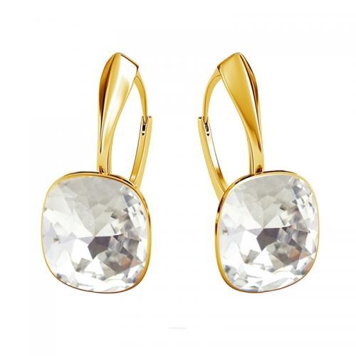 Cercei Argint 925 placati cu Aur 24k, Cercei SWAROVSKI Brilliant Crystal Clear + CADOU Laveta profesionala pentru curatat bijuteriile din argint