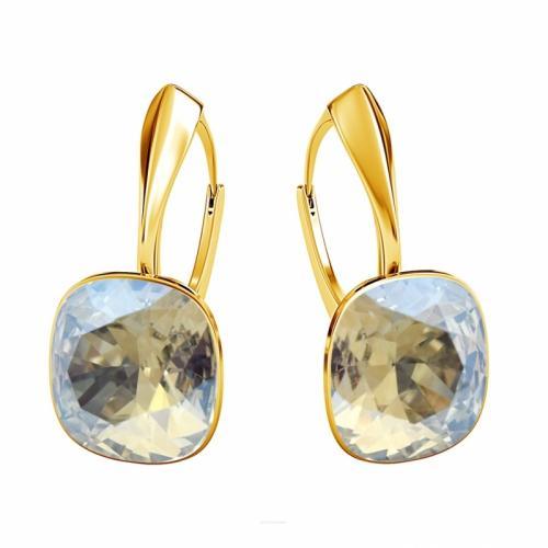 Cercei Argint 925 placati cu Aur 24k, Cercei SWAROVSKI Brilliant Moonlight + CADOU Laveta profesionala pentru curatat bijuteriile din argint