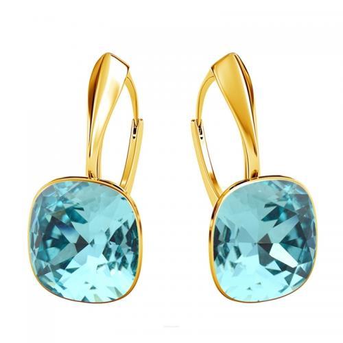 Cercei Argint 925 placati cu Aur 24k, Cercei SWAROVSKI Brilliant Turquoise + CADOU Laveta profesionala pentru curatat bijuteriile din argint