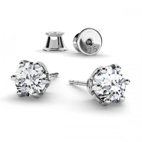 Cercei Argint 925 placati cu Aur Roz, Cercei SWAROVSKI Crystals Zirconia + CADOU Laveta profesionala pentru curatat bijuteriile din argint + Cutie Cadou
