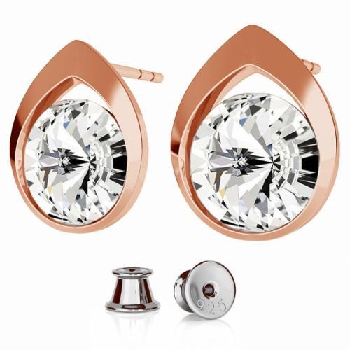 Cercei Argint 925 placati cu Aur Roz, Cercei SWAROVSKI Diamond Crystal Clear + CADOU Laveta profesionala pentru curatat bijuteriile din argint