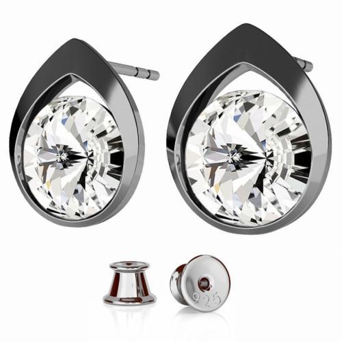 Cercei Argint 925 placati cu Rodiu Negru, Cercei SWAROVSKI Diamond Crystal Clear + CADOU Laveta profesionala pentru curatat bijuteriile din argint